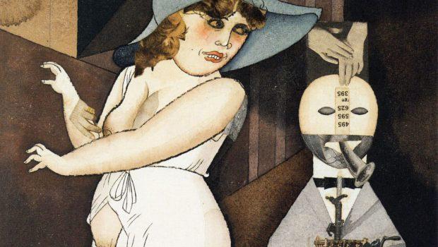George Grosz, Daum marries her pedantic automaton George in May 1920, John Heartfield is very glad of it, 1920, Berlinische Galerie